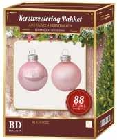 Kerstboomversiering kerstballen set roze 88 stuks