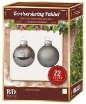 Kerstboomversiering kerstballen set titanium grijs 72 stuks