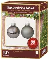 Kerstboomversiering kerstballen set titanium grijs 88 stuks