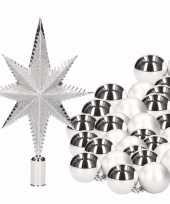Kerstboomversiering set zilver met 36 kerstballen en ster piek