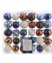 Kerstdecoratie set kerstballen blauw koper bruin en wit 60 delig
