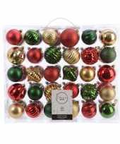 Kerstdecoratie set kerstballen groen goud rood 60 delig