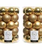 Kerstversiering kerstballen goud 68 stuks