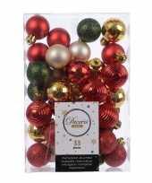 Kerstversiering kerstballen rood groen goud champagne 33 stuks