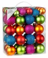 Kinder kerstballen pakket gekleurd 50x