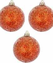 Oranje kerstversiering 3x kerstballen oranje 8 cm