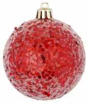 Rode kerstversiering 1x kerstballen rood 8 cm