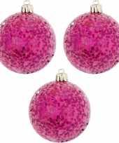 Roze kerstversiering 3x kerstballen roze 8 cm