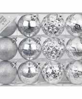 Set van 12 luxe zilveren kerstballen 6 cm kunststof mat glans