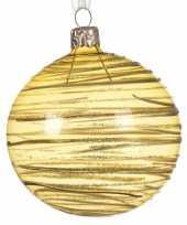 Transparante kerstballen met strepen goud 8 cm