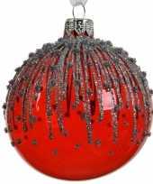 Transparante kerstballen met strepen rood 8 cm 10104723