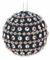 Zwarte kerstballen met diamantjes 3 5 cm 6 stuks